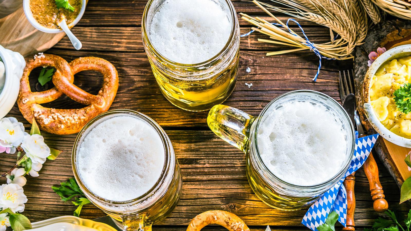 Oktoberfest Beer and Pretzels